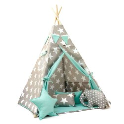 TEEPEE TENT - STARS WITH MINT